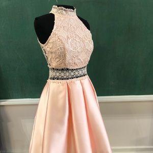Hi low lace and taffetas dress
